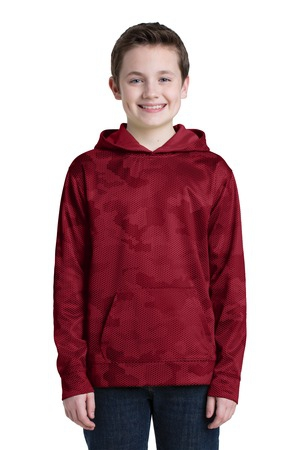 SportTek Youth SportWick CamoHex Fleece Hooded Pullover.  YST240