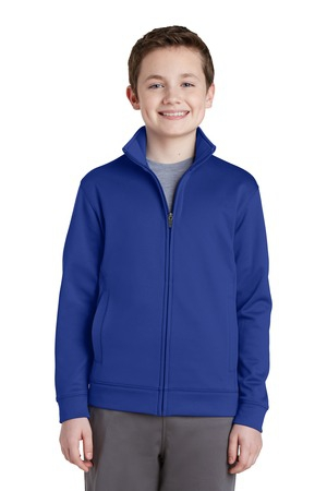 SportTek Youth SportWick Fleece FullZip Jacket.  YST241