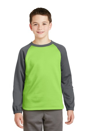 SportTek Youth SportWick Raglan Colorblock Fleece Crewneck. YST242