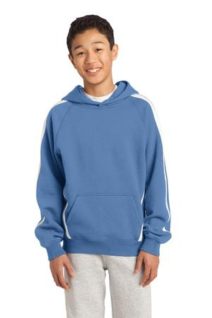SportTek Youth Sleeve Stripe Pullover Hooded Sweatshirt. YST265