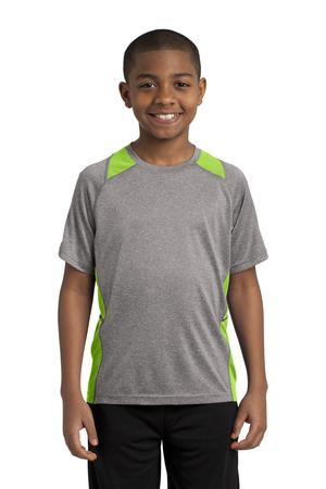 SportTek Youth Heather Colorblock Contender Tee. YST361