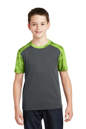 SportTek Youth CamoHex Colorblock Tee. YST371