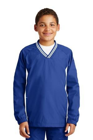 SportTek Youth Tipped VNeck Raglan Wind Shirt. YST62