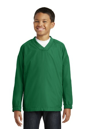SportTek Youth VNeck Raglan Wind Shirt. YST72