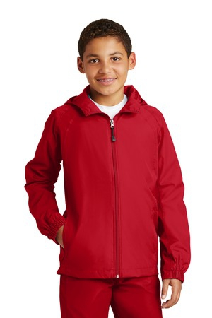 SportTek Youth Hooded Raglan Jacket. YST73