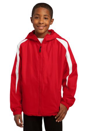 SportTek Youth FleeceLined Colorblock Jacket. YST81