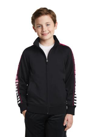SportTek Youth Dot Sublimation Tricot Track Jacket. YST93