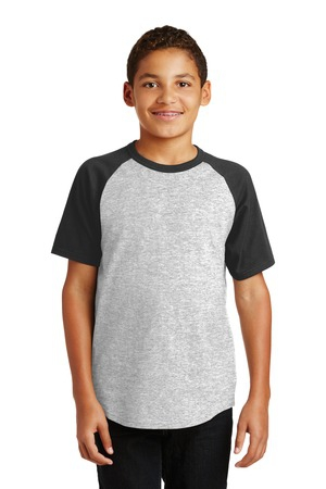 SportTek Youth Short Sleeve Colorblock Raglan Jersey. YT201