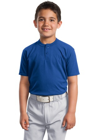 SportTek Youth Short Sleeve Henley. YT210